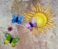 Motiv Grabstein, Schmetterlinge, Sonne